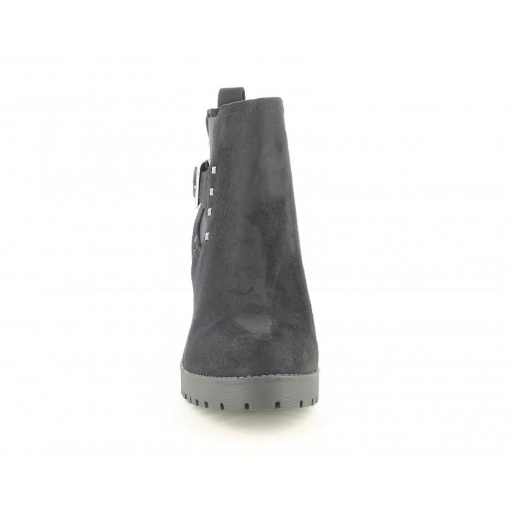 Botines tacón Xti negro de antelina con cremallera y hebilla - Querol online
