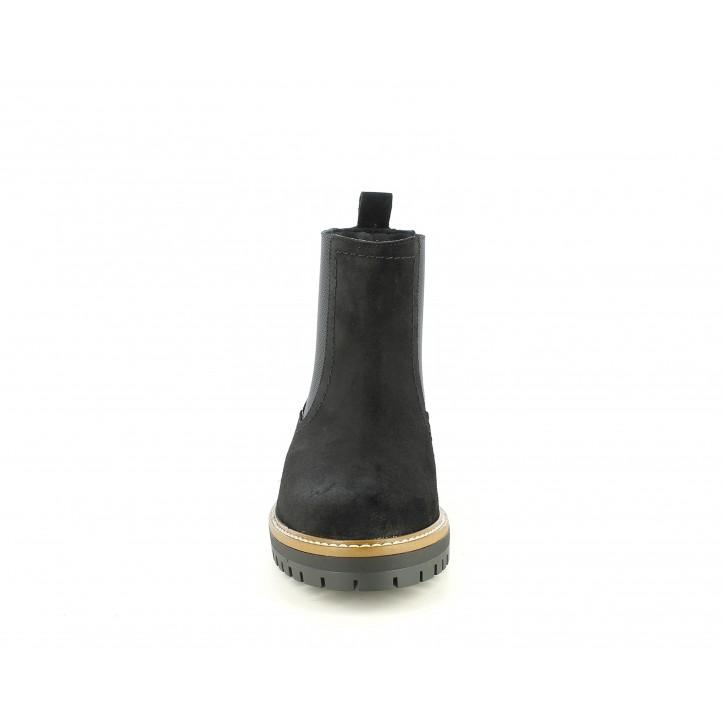 Botines tacón Redlove chelsea de piel negro con elástico estampado - Querol online