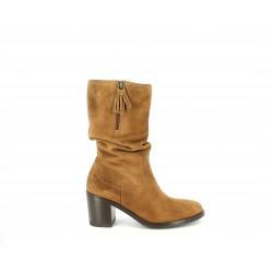 Botas tacón Redlove marrón de serraje con caña arrugada - Querol online