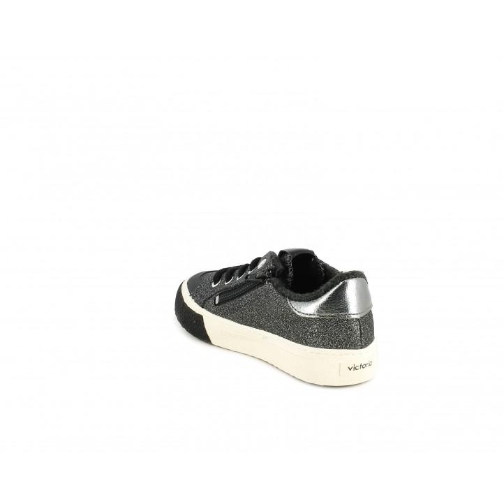 Zapatillas deporte Victoria purpurina antracita, amb cordons i capdavantera reforçada - Querol online