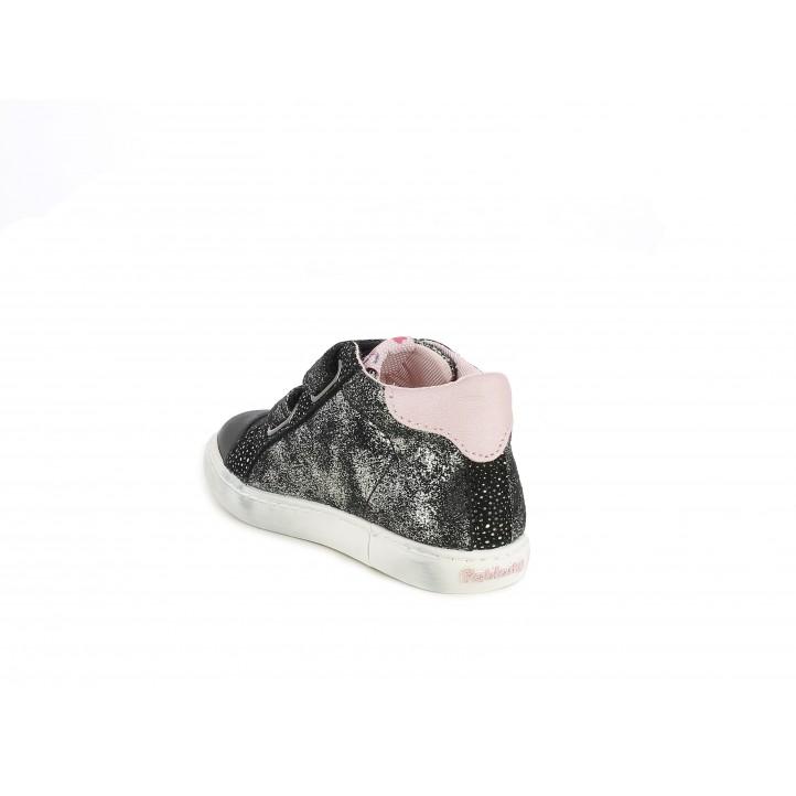 Botines Pablosky negras de purpurina con estrella rosa - Querol online