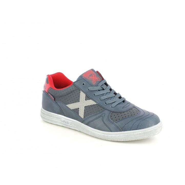 Zapatillas deportivas MUNICH azules combinadas en plateado y detalles en rojo - Querol online