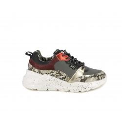 Zapatillas deportivas Xti combinado en estampado y charol con cuña de 4cm - Querol online