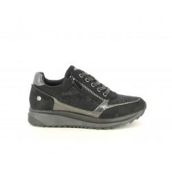 Zapatillas deportivas Xti negras combinadas con brillantes y cremallera lateral - Querol online