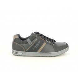 Zapatos sport Xti negros con cordones, detalles en gris y en marrón - Querol online