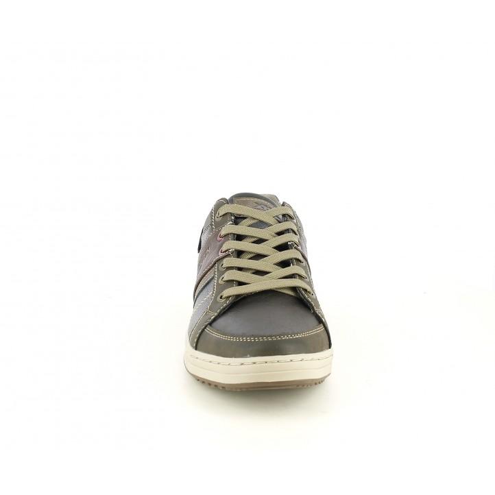 Zapatos sport Xti marrones con cordones, detalles en gris y en marrón - Querol online