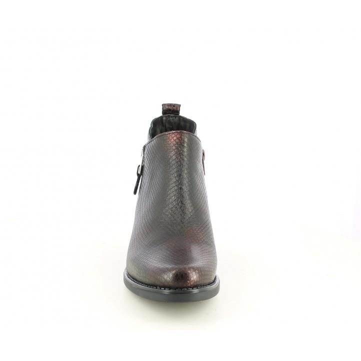 Botins de taló Suite009 burdeus amb estampat serp i cremallera lateral - Querol online