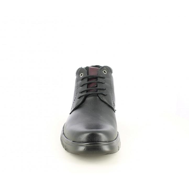 Botines Baerchi negro con cordones, detalles en granate y suela flexible - Querol online