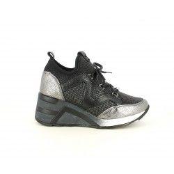 Zapatillas deportivas Cetti combinadas con tejidos brillantes y cuña de 6cm