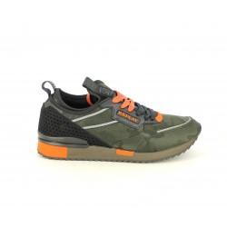 Zapatillas deportivas Replay estampado en militar con detalles en naranja y cordones combinables - Querol online
