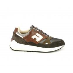 Zapatillas deportivas Replay marrones con cordones suela con volumen - Querol online