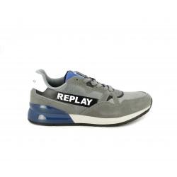 Zapatillas deportivas Replay grises con cordones y detalles en azul y blanco - Querol online