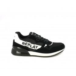 Zapatillas deportivas Replay negros con cordones y detalles en blanco - Querol online