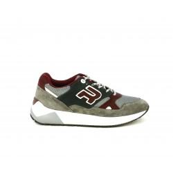 Zapatillas deportivas Replay grisese de cordones con detalles en burdeos y blanco - Querol online