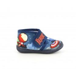 Zapatillas casa Duvic azul mariono con dibujos de supehéroes - Querol online