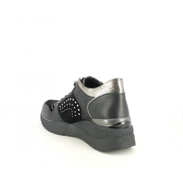 Cuñas STONEFLY negros con detalles metálicos, almohadilla de gel en el talón - Querol online
