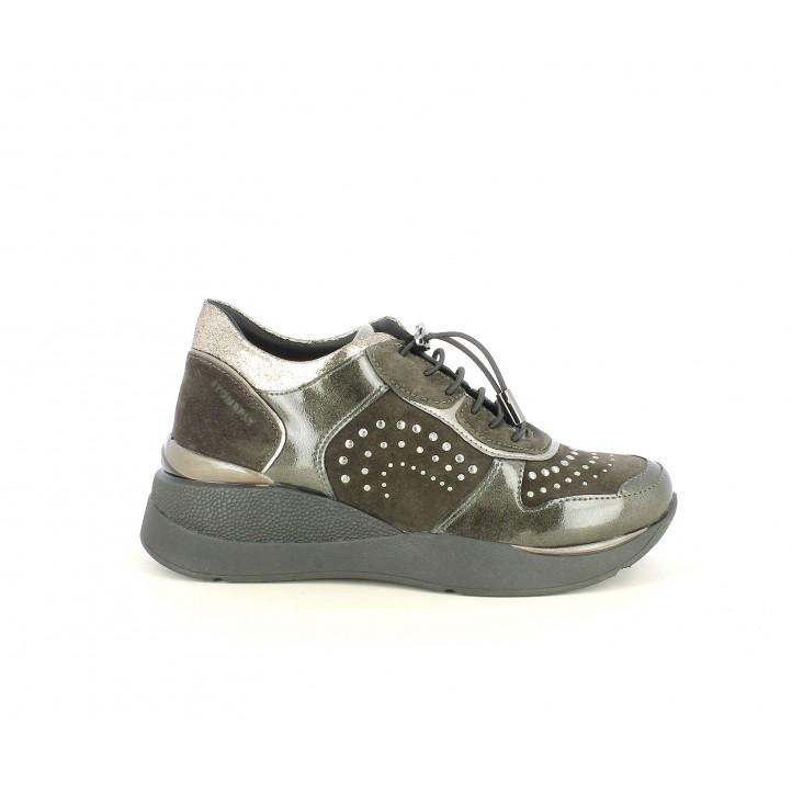Cuñas STONEFLY gris oscuro con cordones y detalles metálicos - Querol online