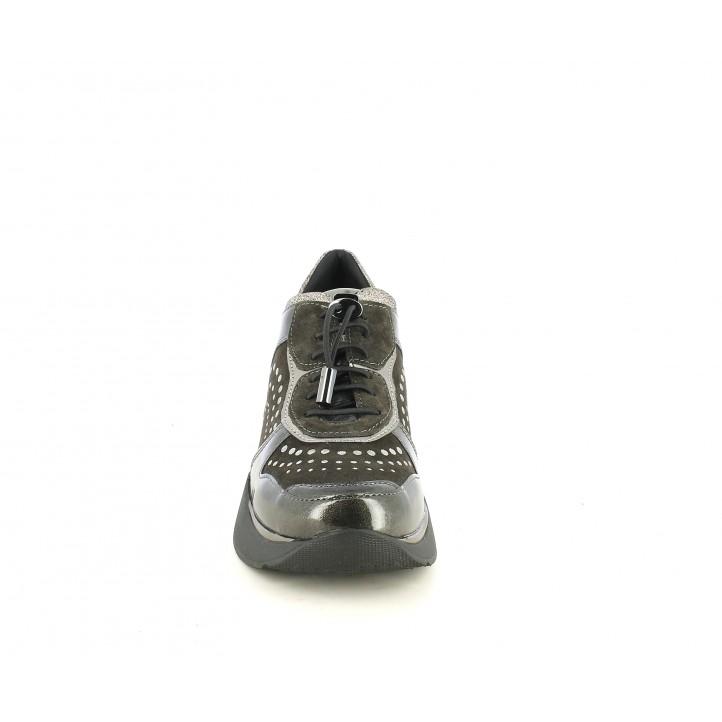 Sabates de falca STONEFLY gris fosc amb cordons i detalls metàl-lics - Querol online