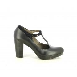 Zapatos tacón Patricia Miller negros con hebilla y tacón de 8cm - Querol online