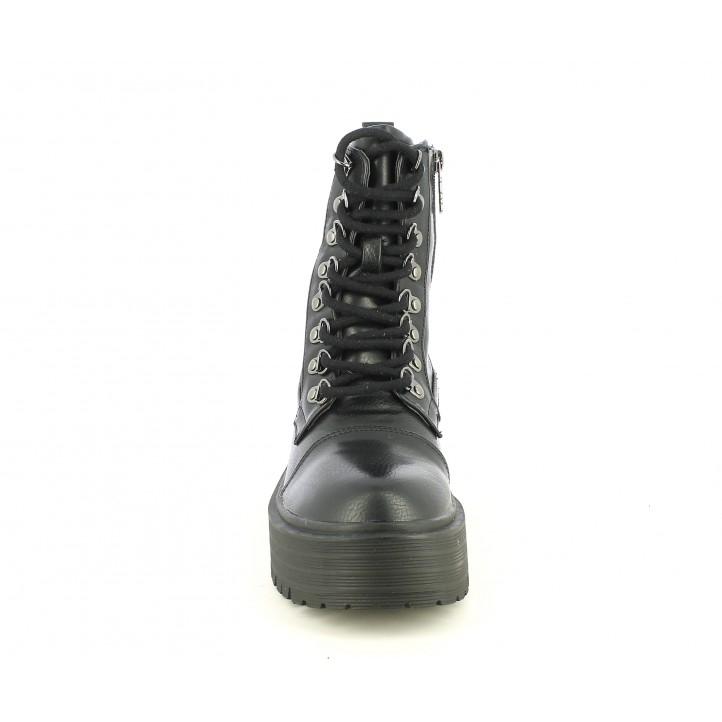 Botines Refresh negro con cordones y plataforma - Querol online