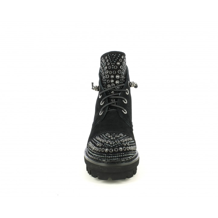 Botins de taló Alma en pena negres amb cordons elàstics i tatxes - Querol online