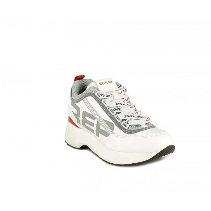 Zapatillas deportivas Replay blanco y gris combinado en malla, cuero sintético y satén - Querol online