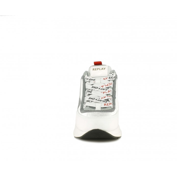 Sabatilles esportives Replay blanc i gris combinat en malla, cuir sintètic i setí - Querol online