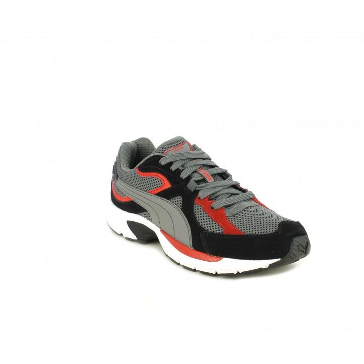 Zapatillas deportivas Puma grises conbinadas con negro y rojo - Querol online