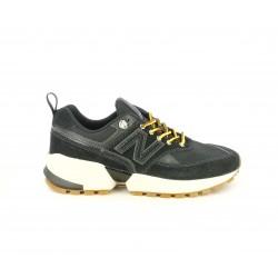 Zapatillas deportivas New Balance 574 negros con cordones amarillos - Querol online