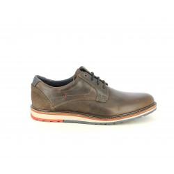 Zapatos vestir Lobo marrones con cordones y detalles azulesl - Querol online
