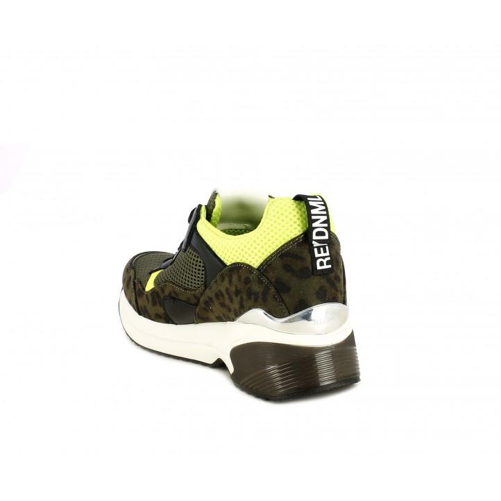 Zapatillas deportivas Replay verde militar con verde fluorescente - Querol online