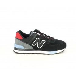 Zapatillas deportivas New Balance 574 negras con detalles en rojo y azul - Querol online