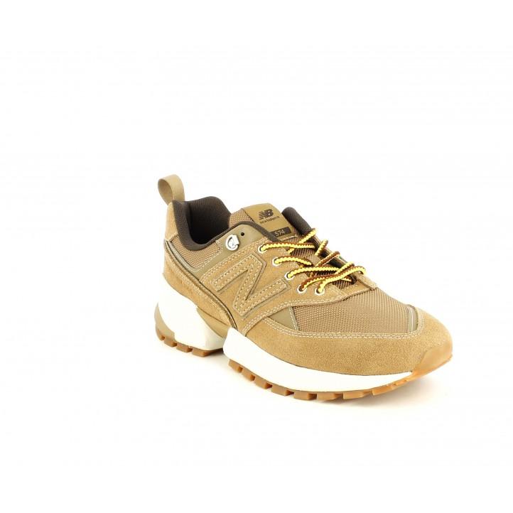 Sabatilles esportives New Balance 574 marrons amb cordons grocs - Querol online