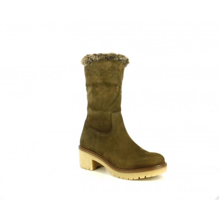 Botas tacón Redlove kaki con pelo interior - Querol online