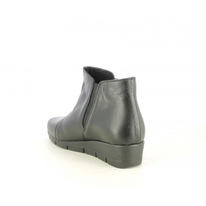 Botines Suite009 negros con cremallera y elástico con cuña - Querol online