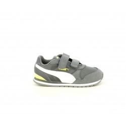 Zapatillas deporte Puma gris con blanco y amarillo fluorescente