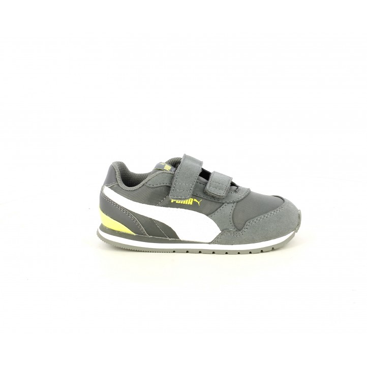 Zapatillas deporte Puma gris con blanco y amarillo fluorescente - Querol online
