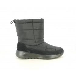 Botines Skechers negra de nailon acolchada y detalle en ante - Querol online