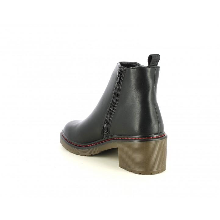 Botines tacón Owel negros con dos cremalleras - Querol online
