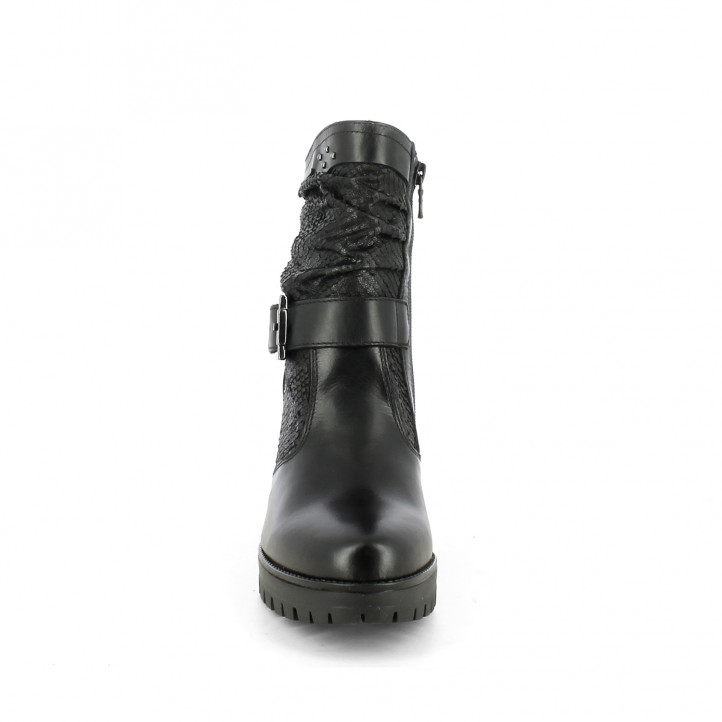 Botins Nero Giardini negra amb textura en serp i cremallera part interiror - Querol online