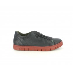 Zapatos sport Slowwalk negros de piel con suela roja y cordones elásticos - Querol online
