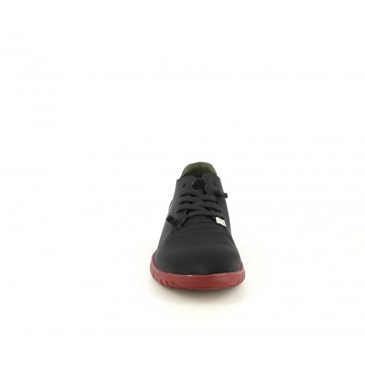 Zapatos planos Slowwalk negras con cordones elásticos y suela roja - Querol online