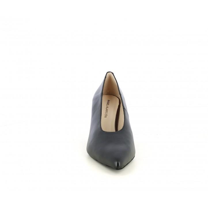 Zapatos tacón Angel Alarcón negros con punta fina y plantilla acolchada - Querol online