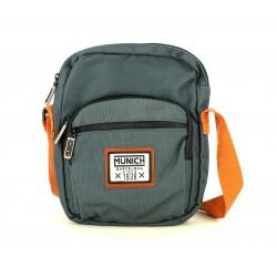 Complementos MUNICH bandolera gris oscuro con asa naranja y bolsillo frontal - Querol online