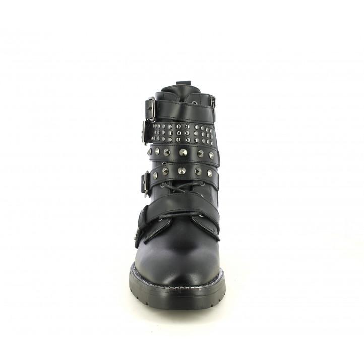 Botines tacón SixtySeven 67 negros de piel con hebillas, tiras y tachuelas - Querol online