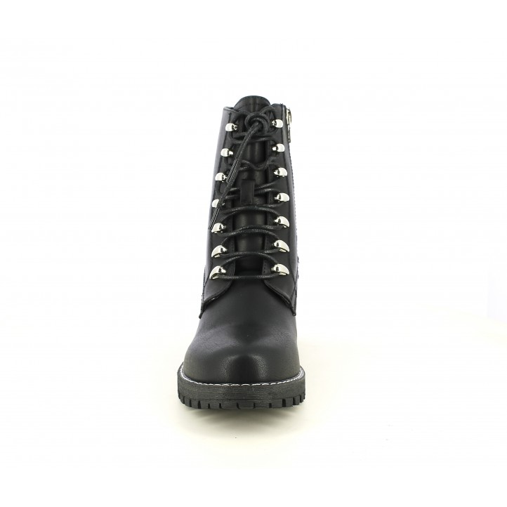 Botines tacón Maria Mare negros con cordones y cremallera lateral - Querol online