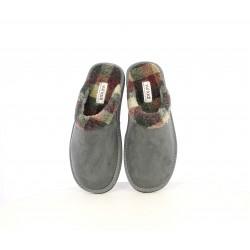 Zapatillas casa Vul·ladi grises con estampado de cuadro en el interior - Querol online