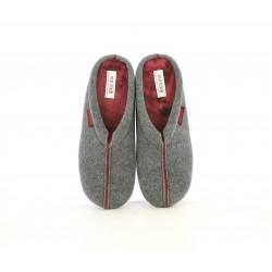 Zapatillas casa Vul·ladi gris oscuro con interior granate - Querol online