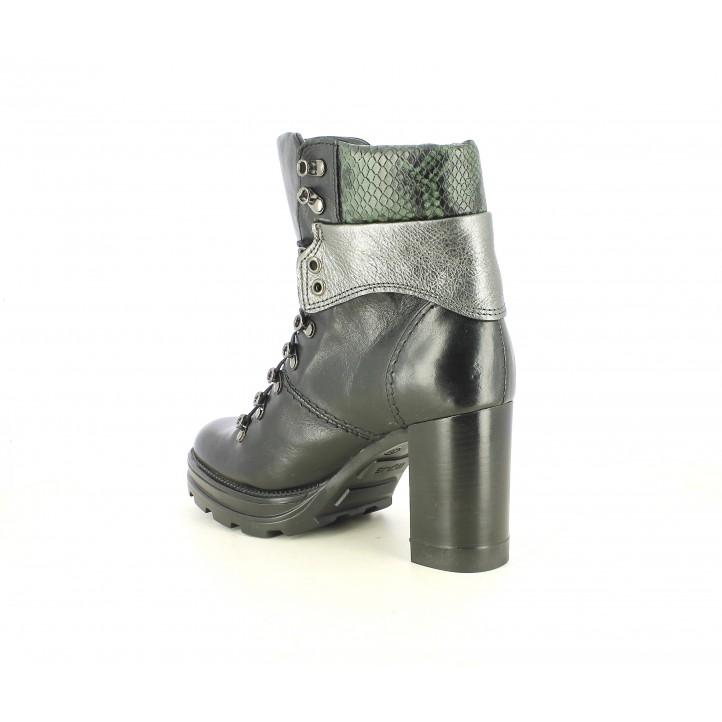 Botines tacón Mjus negros de piel con detalles metalizados y serpiente - Querol online