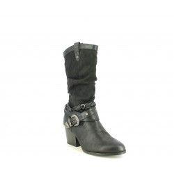 Botas tacón Mustang negras con tiras y hebillas en el tobillo - Querol online